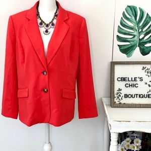The Limited Bright Coral Two-Button Blazer Sz 14P